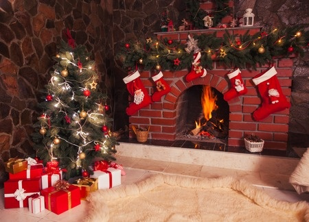 stockings over fireplace